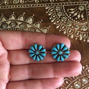 Vintage Native American Turquoise Flower Earrings